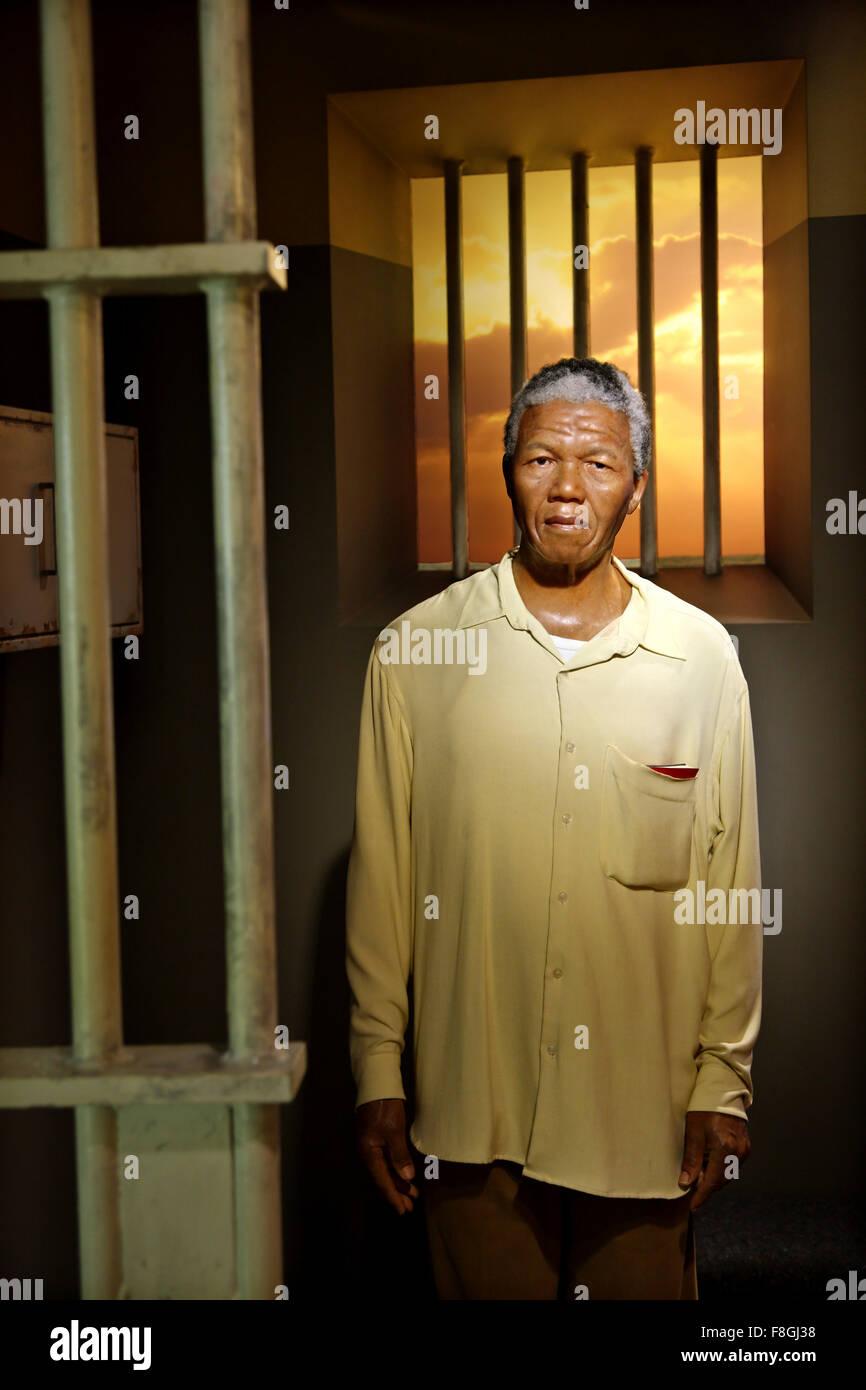 Nelson Mandela in Madame Tussauds waxworks museum, Prater park, Vienna - Stock Image