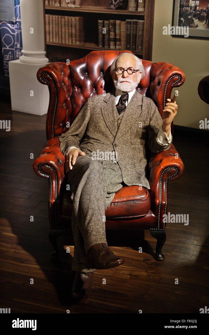 Sigmund Freud in Madame Tussauds waxworks museum, Prater park, Vienna - Stock Image