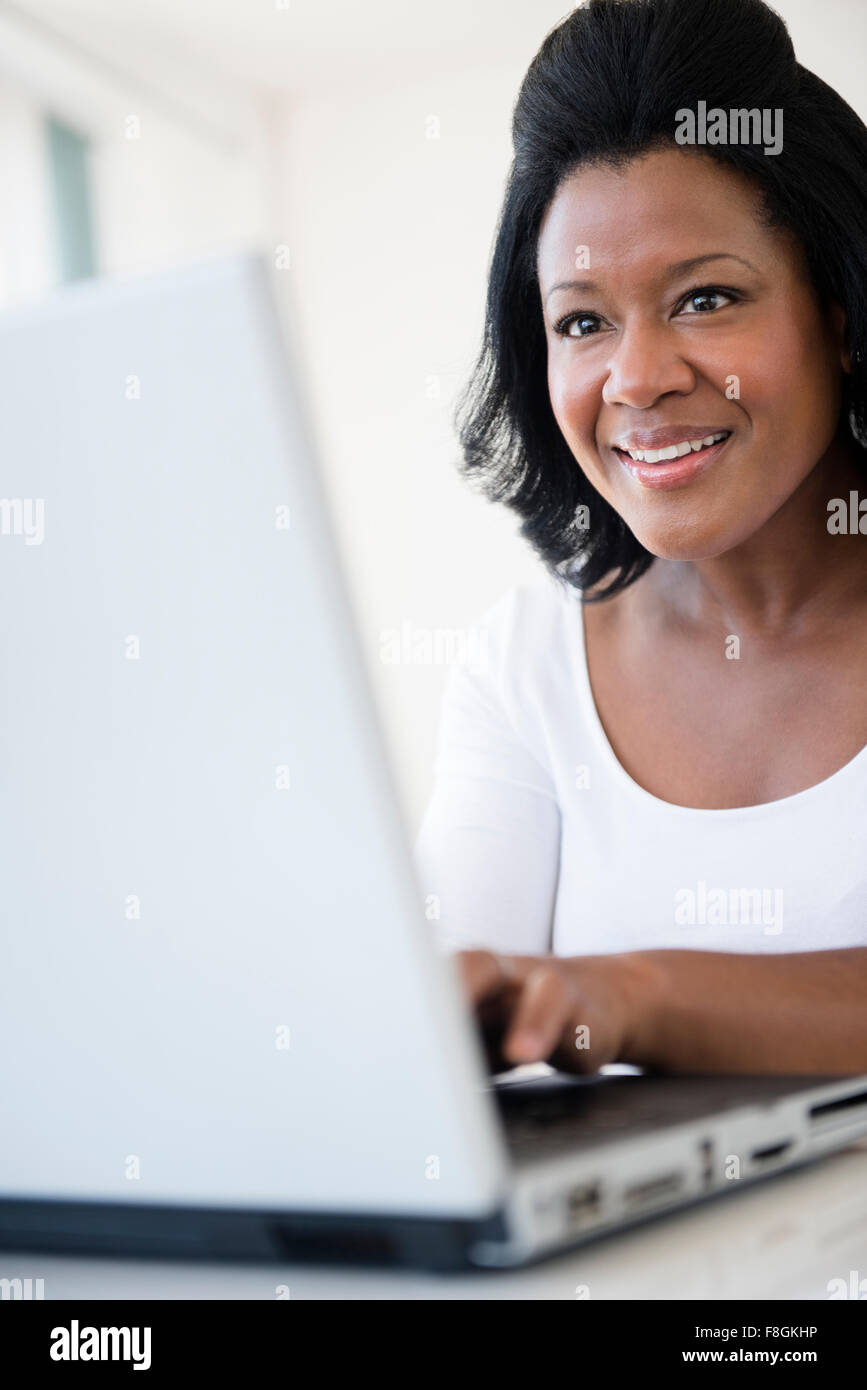 Mature African American Woman Laptop High Resolution Stock Photography And Images Alamy