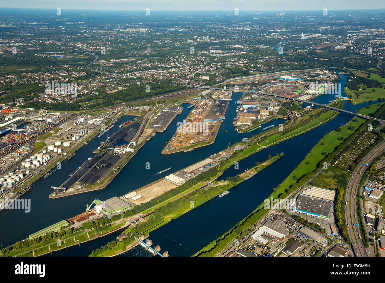 Duisport, the Port of Duisburg, the largest inland port in Europe, Ruhr, Rhine-Herne Canal, inland waterways, container Stock Photo
