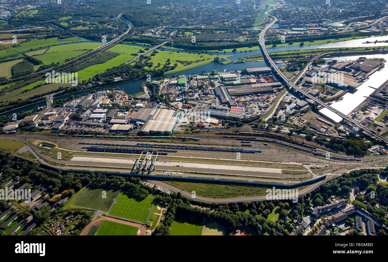 Duisport, the Port of Duisburg, the largest inland port in Europe, Ruhr, Rhine-Herne Canal, inland waterways, container - Stock Image
