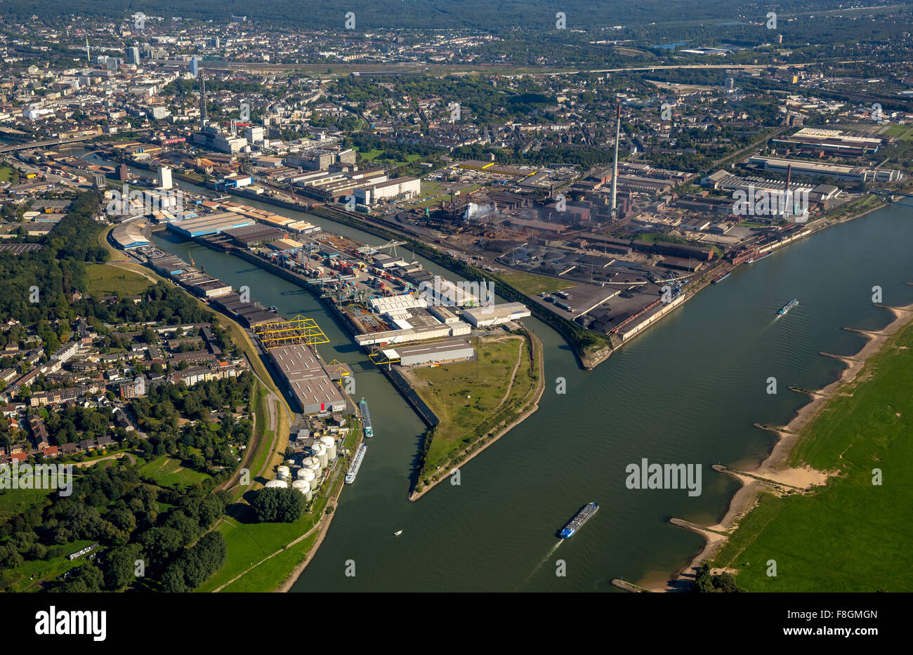 Ruhr estuary, The Ruhr, Kassel field, Rhein, Duisport, inland port on the River Rhine and River Ruhr, Duisburg port - Stock Image