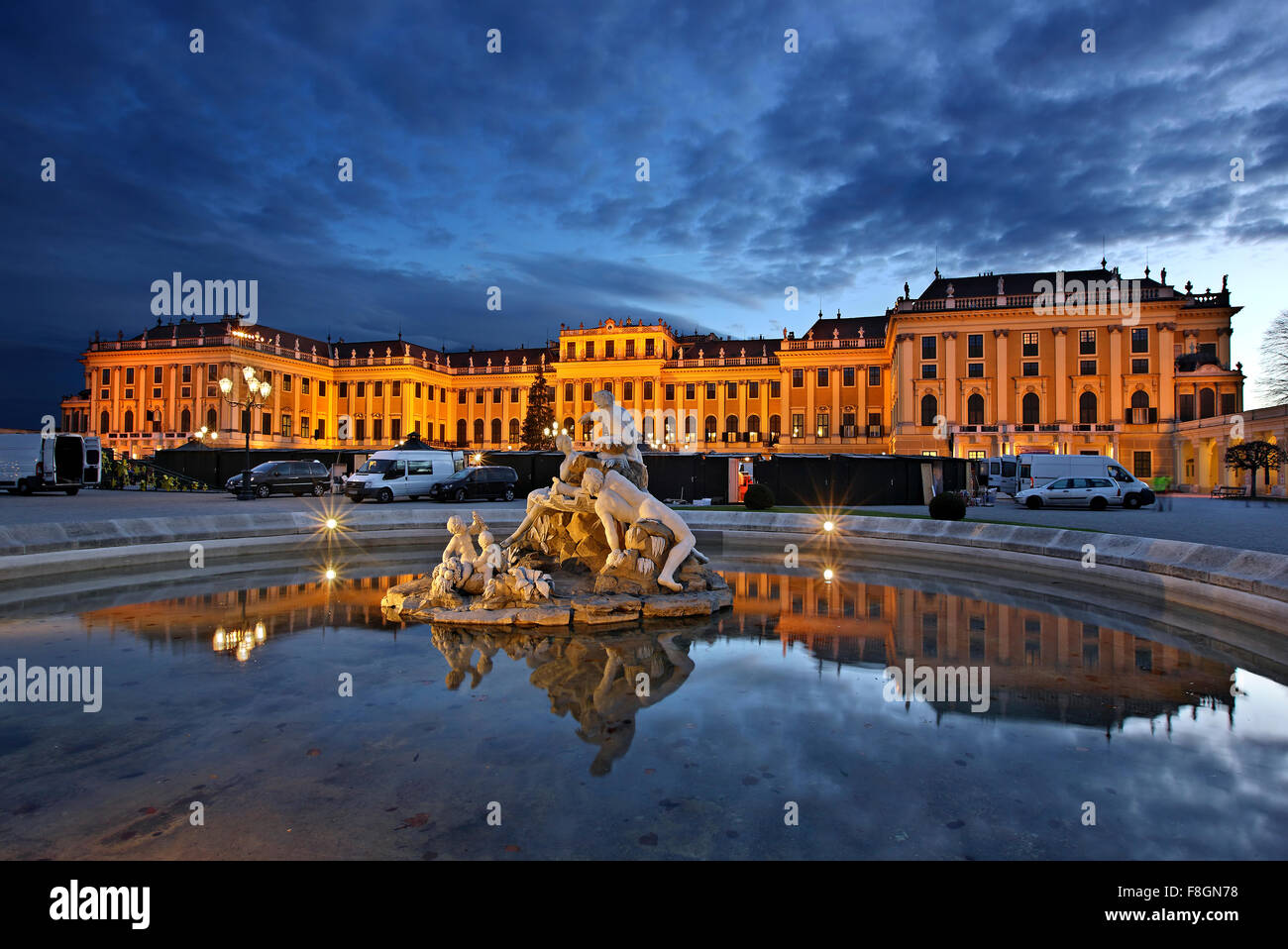 View of the Schönbrunn, summer palace of the Habsburgs, Vienna, Austria - Stock Image