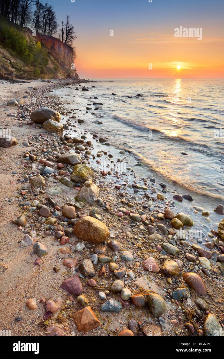 Baltic Sea at sunrise, Pomerania, Poland, Europe Stock Photo