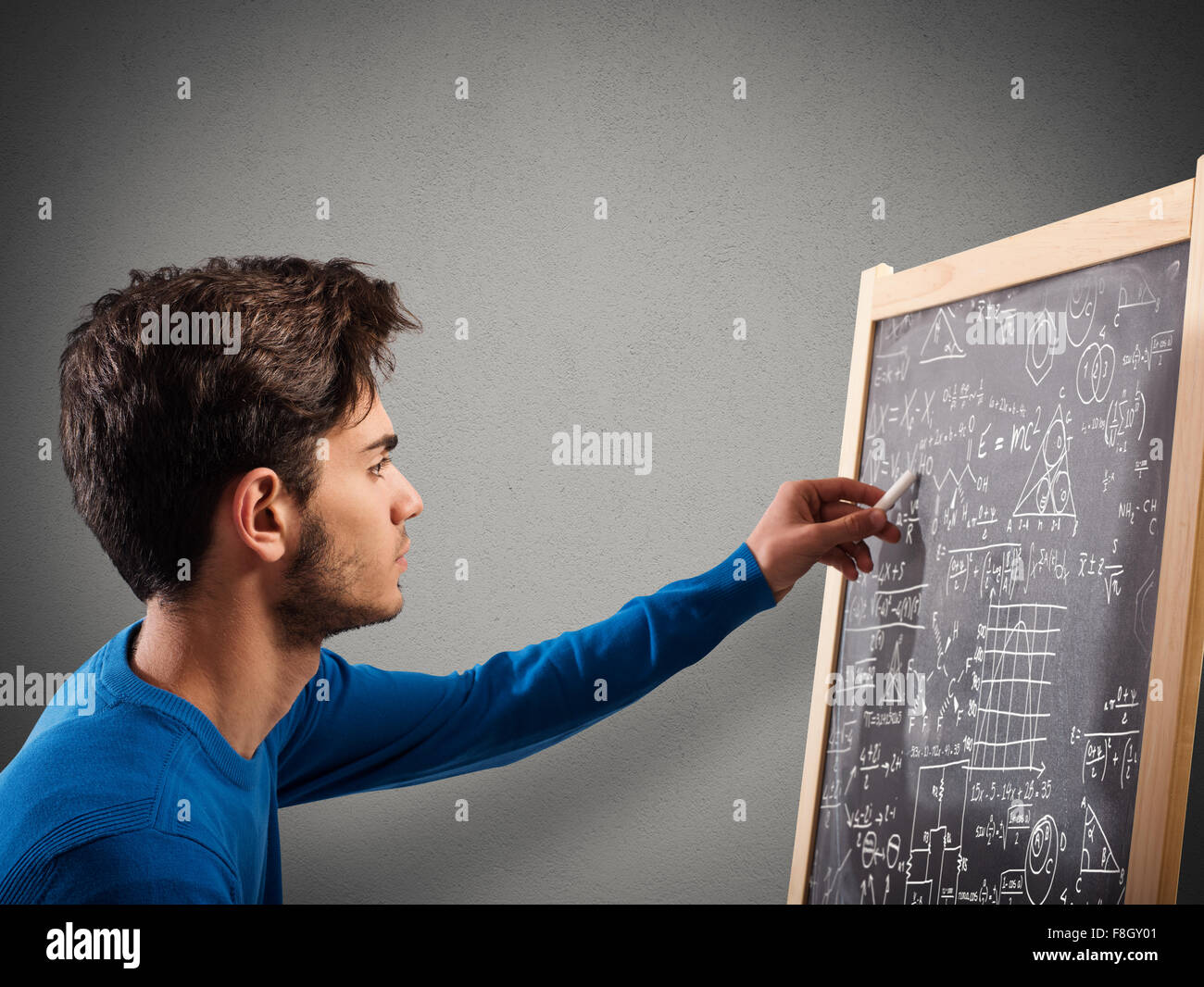 Study on blackboard - Stock Image