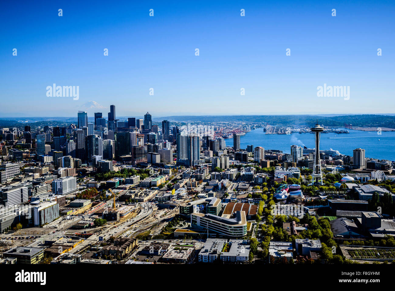 Aerial view of Seattle cityscape, Washington, United States - Stock Image