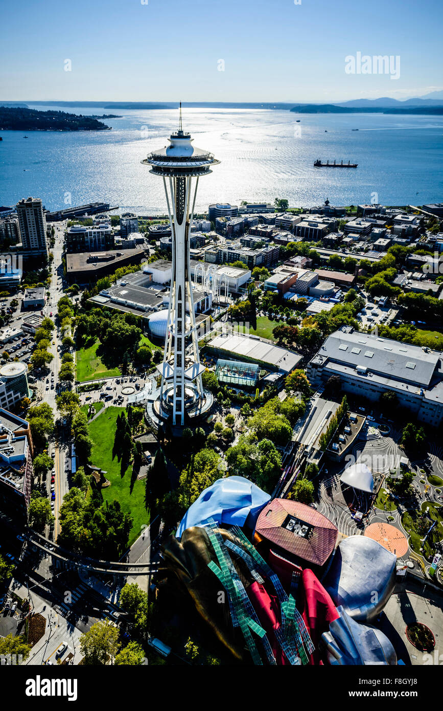 Aerial view of Space Needle in Seattle cityscape, Washington, United States - Stock Image