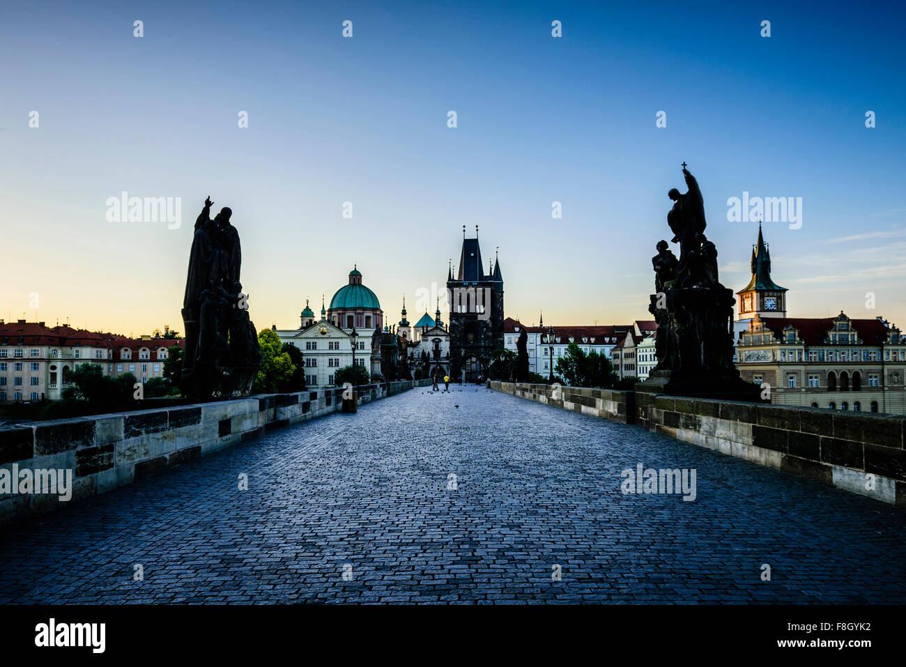 Blue sky over Prague street, Czech Republic - Stock Image
