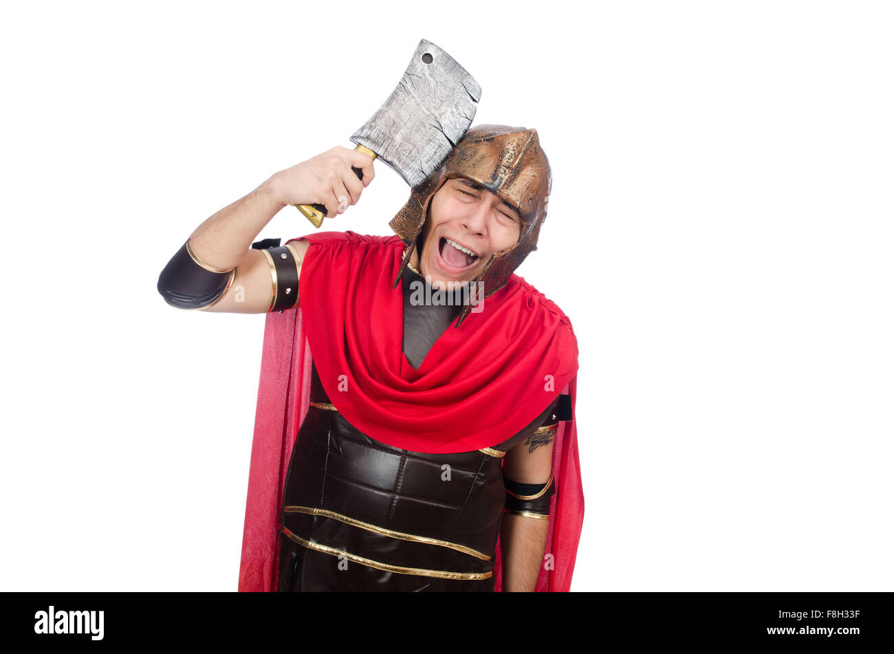 Gladiator with cleaver isolated on white - Stock Image