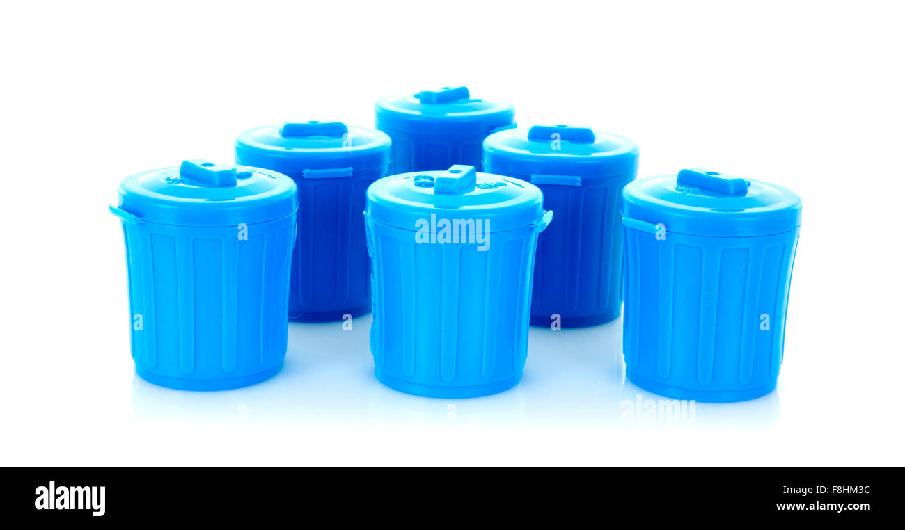 Six Blue Plastic Trash Cans on a White Background - Stock Image