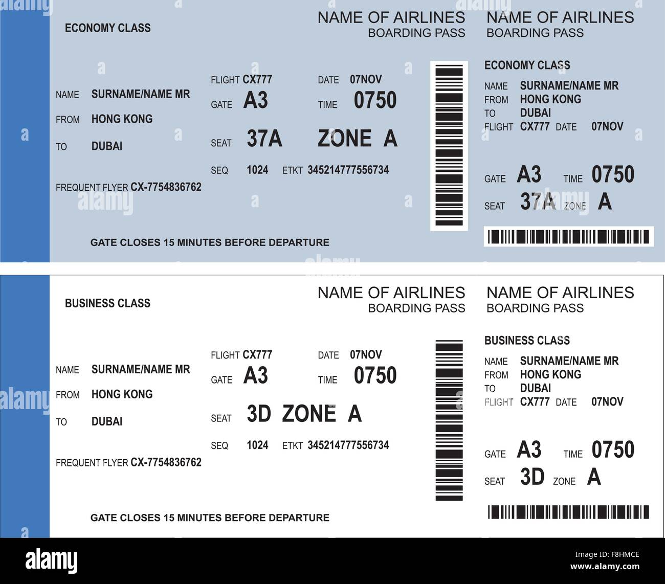 Vector Image Of Airline Boarding Pass Tickets With Barcode Stock