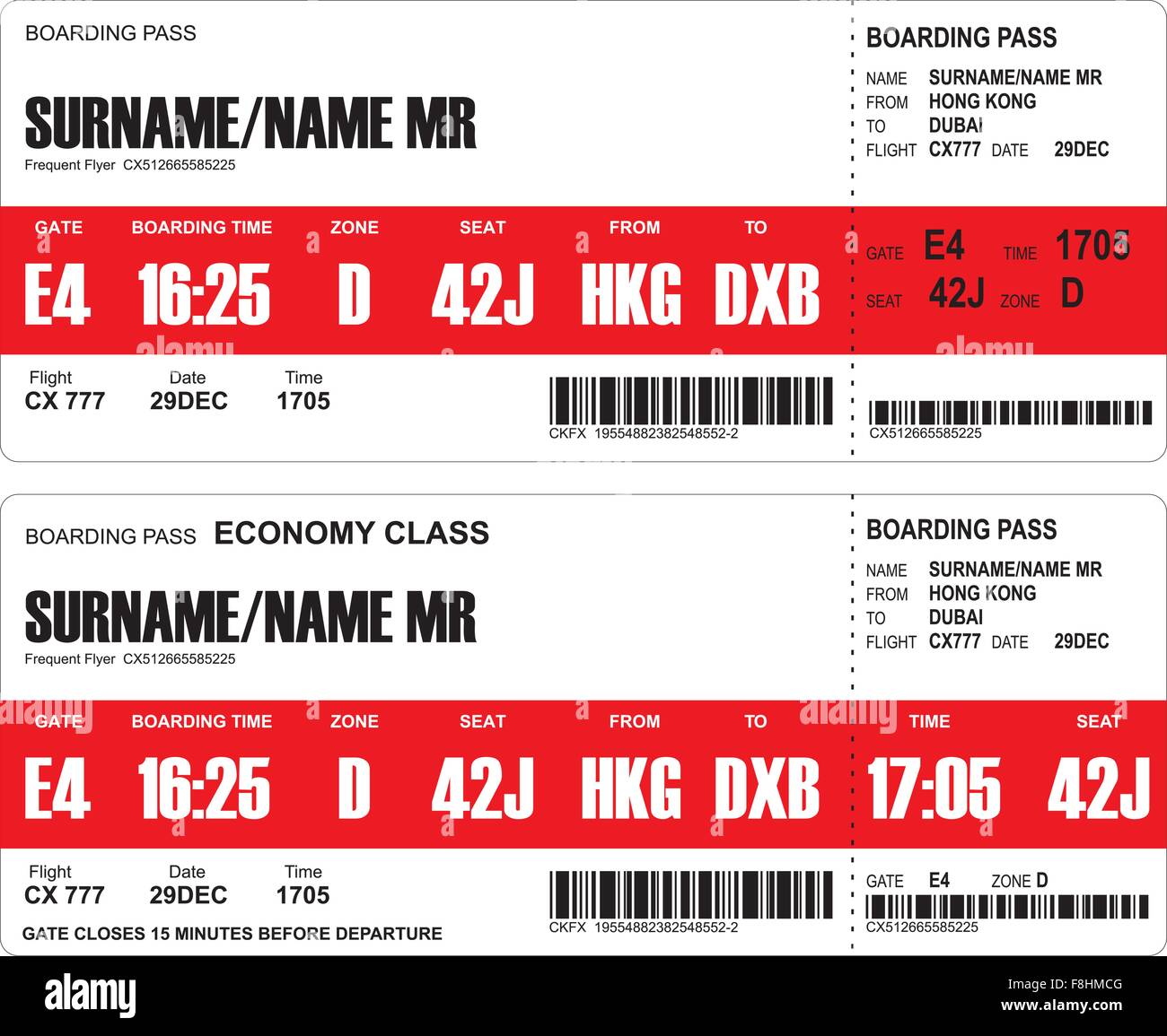 e06881ab287 Vector image of airline boarding pass tickets with barcode - Stock Image