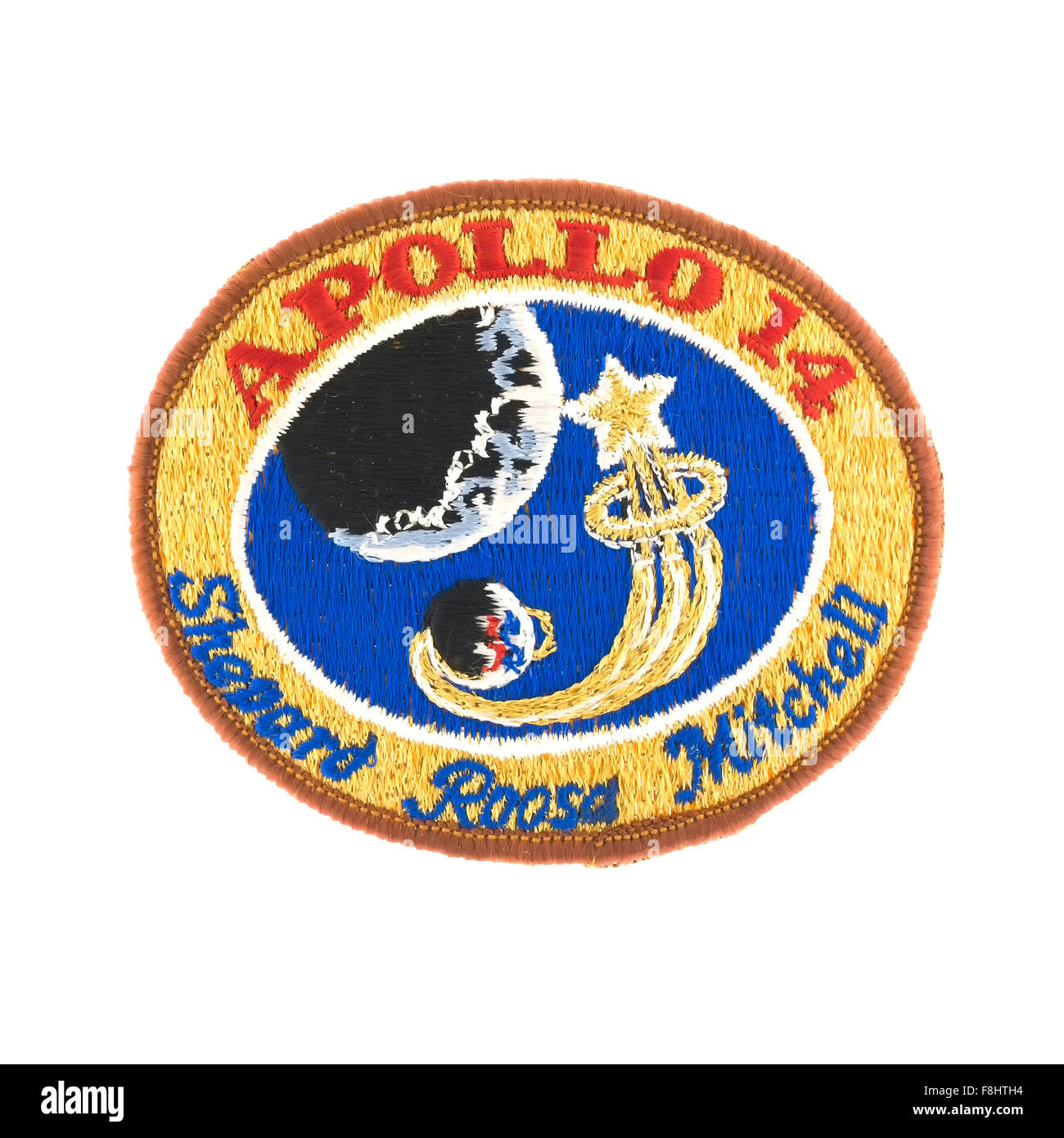 Apollo 14 Mission Badge from the NASA Moon landing with Astronaut's Shepard Roosa Mitchell on a white background - Stock Image