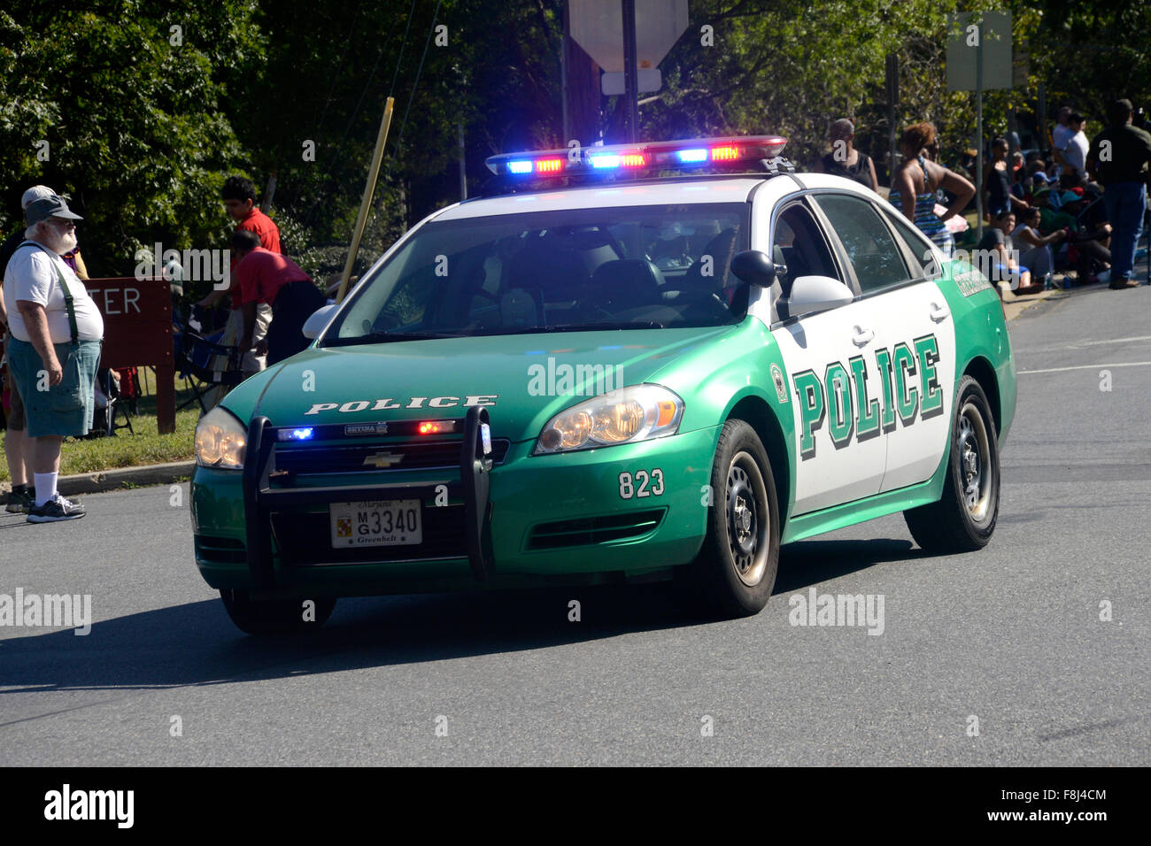 Greenbelt City Police car on a emergency 911 call - Stock Image