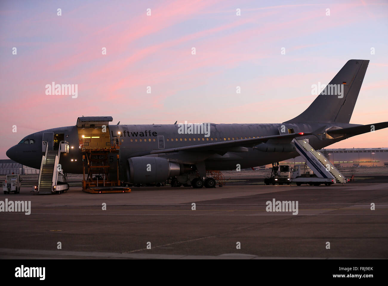 Cologne, Germany. 10th Dec, 2015. A refitted Airbus A310 refuelling aircraft parked in manoeuvring area in Cologne, - Stock Image