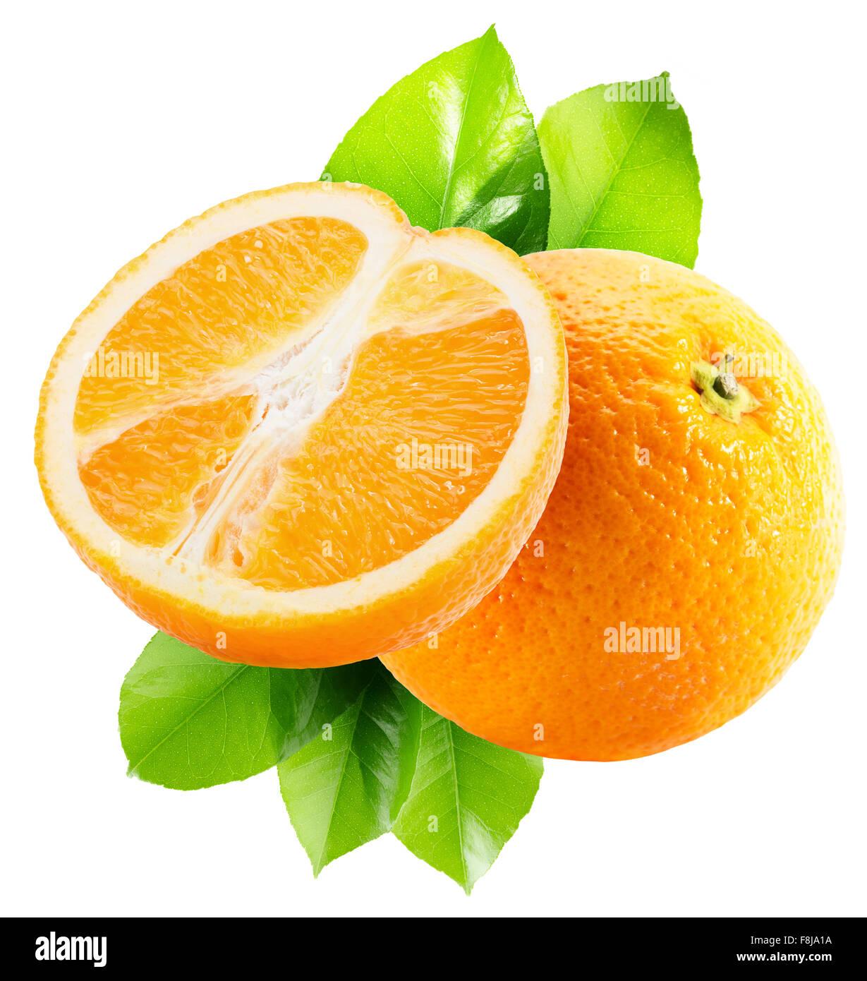 juicy oranges isolated on the white background. - Stock Image