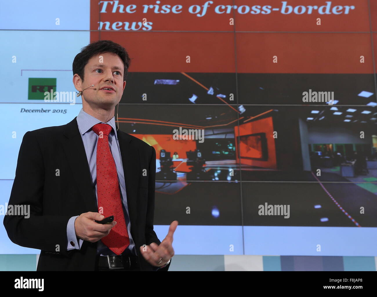 Moscow, Russia. 10th Dec, 2015. PwC Media Industry Accounting Group chairman Sam Tomlinson at a Russia Today conference - Stock Image
