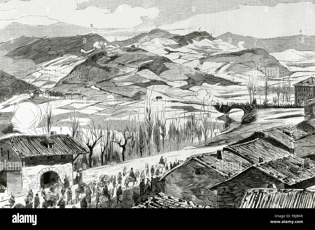 Third Carlist War (1872-1876). Basque Country. Guipúzcoa. Action of Elgueta (February 1876). Withdrawal of - Stock Image