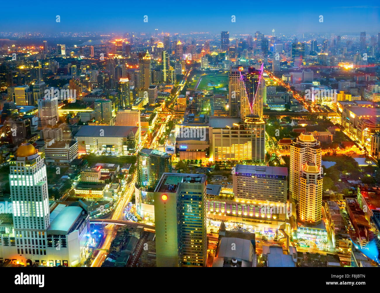 Thailand - Bangkok cityscape view from Baiyoke Sky Tower - Stock Image