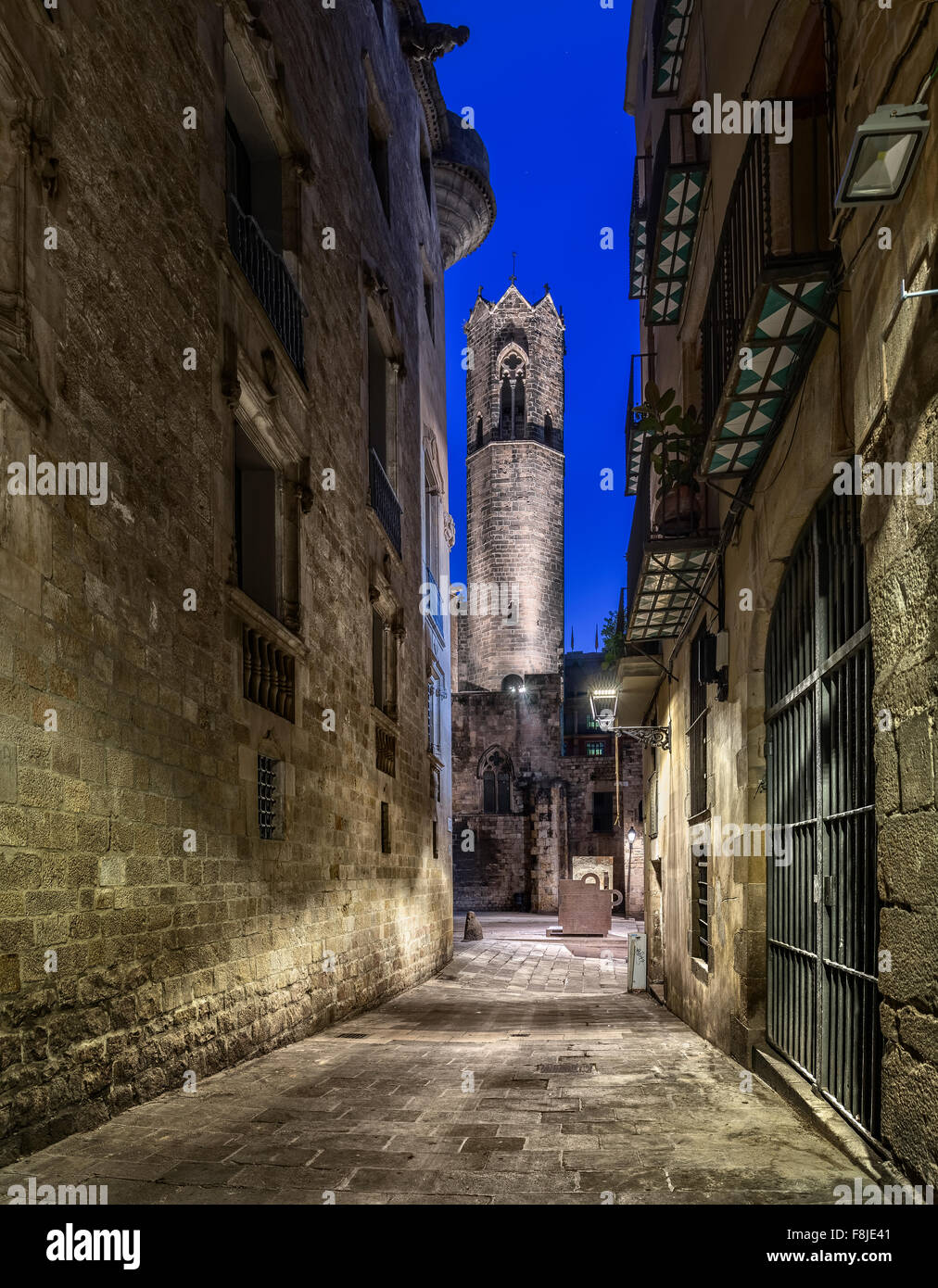 Tower of Torre de Santa Agata chapel (Barcelona) - Stock Image