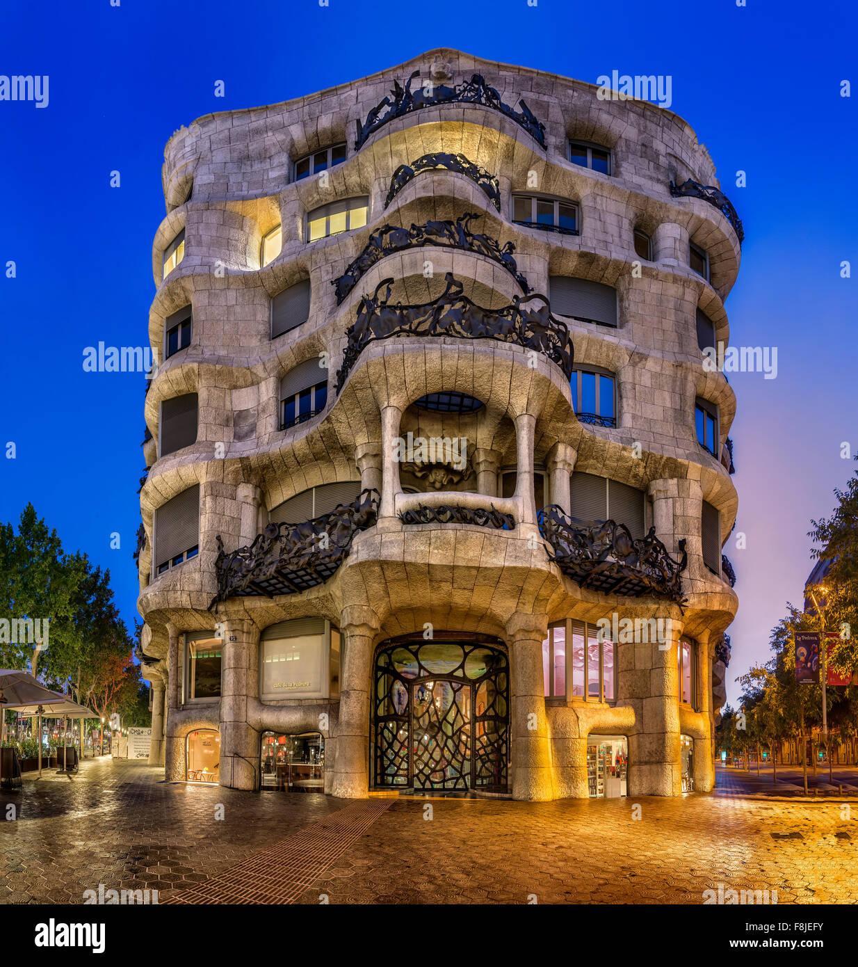 Casa Mila, Architect Antonio Gaudi, Barcelona, Catalonia, Spain - Stock Image