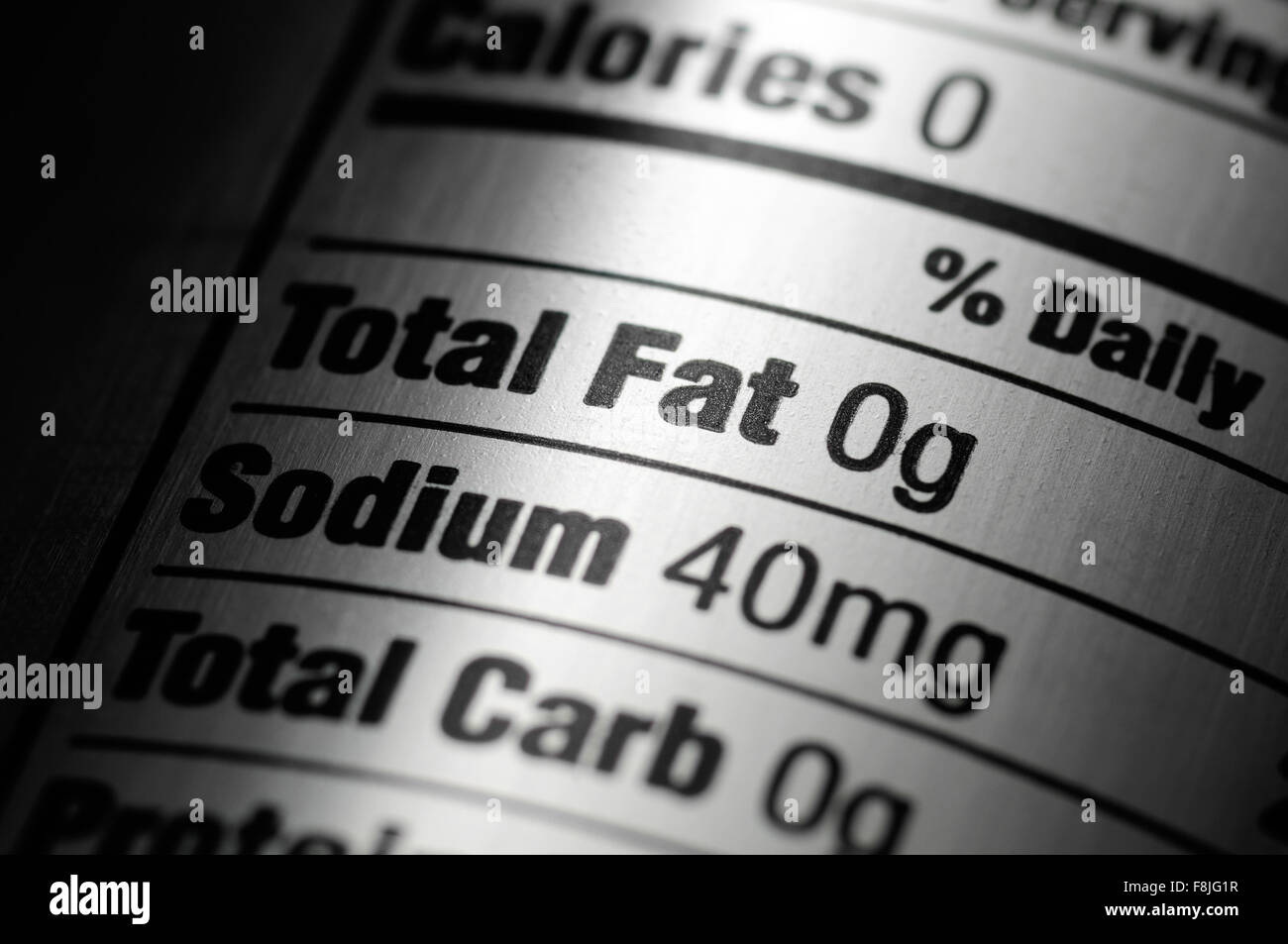 Nutrition ingredients label on a silver aluminum diet soda pop can Stock Photo