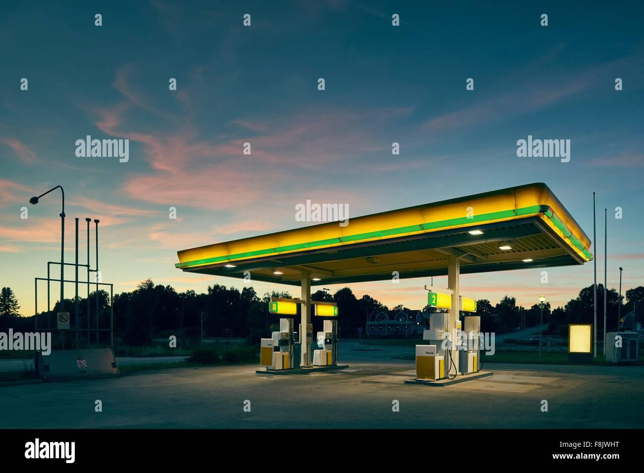 Empty gas station at dusk, Kalmar, Sweden - Stock Image