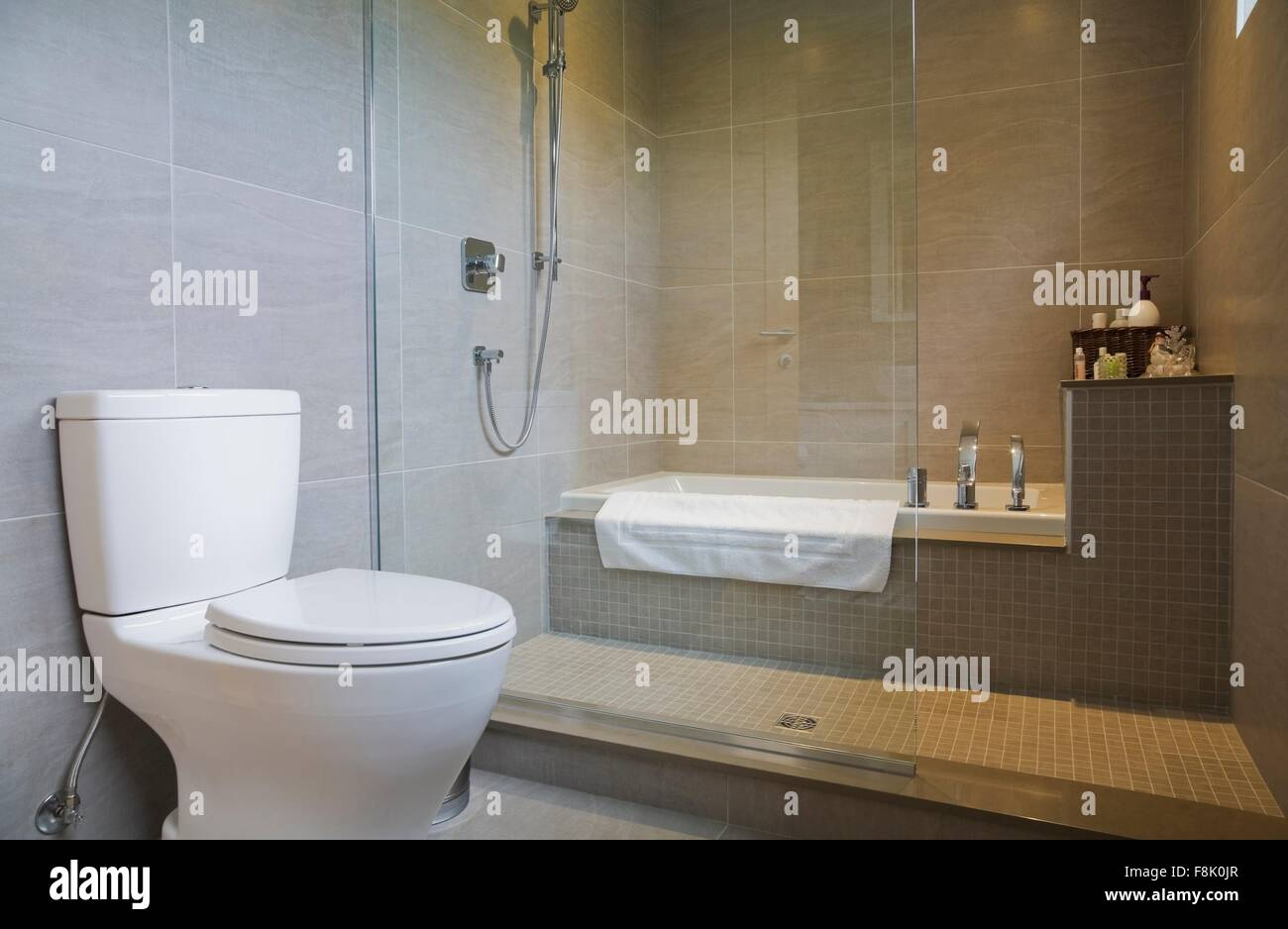 Modern Bathroom With Bath Tub, Toilet And Glass Shower Screen   Stock Image