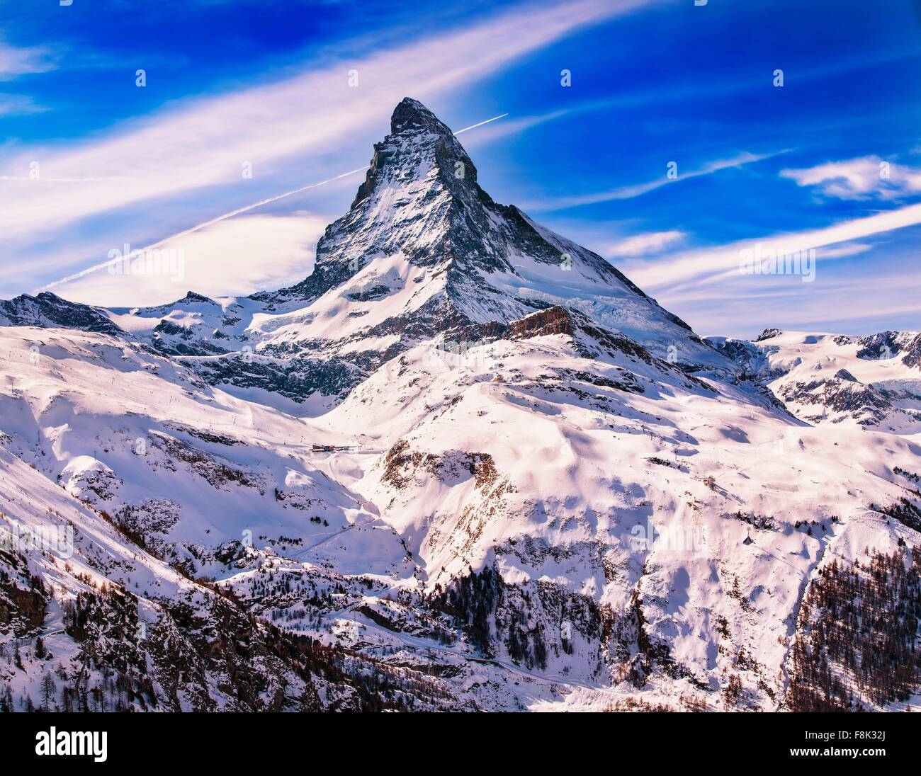 Elevated view of snow covered Matterhorn, Zermatt, Switzerland - Stock Image