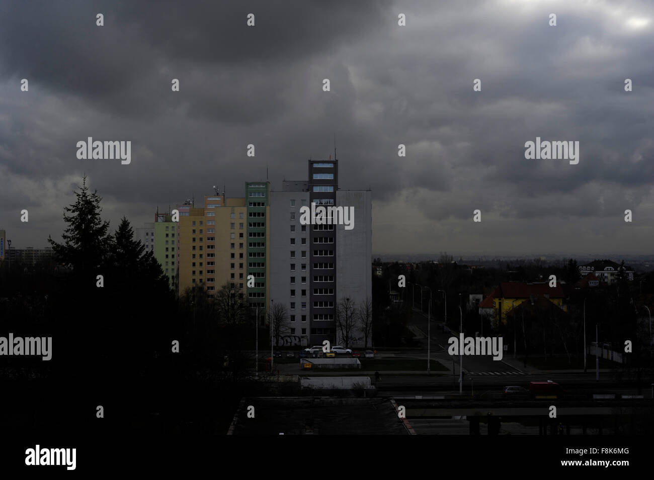 Ex Soviet Union USSR architecture, block buildings. Outskirts of Prague Czech Republic - Stock Image