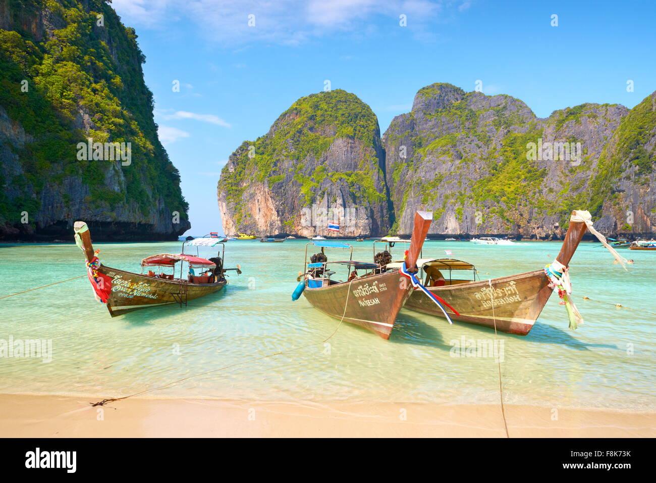 Thailand tropical beach, Maya Bay, Phi Phi Leh Island, Andaman Sea, Asia - Stock Image