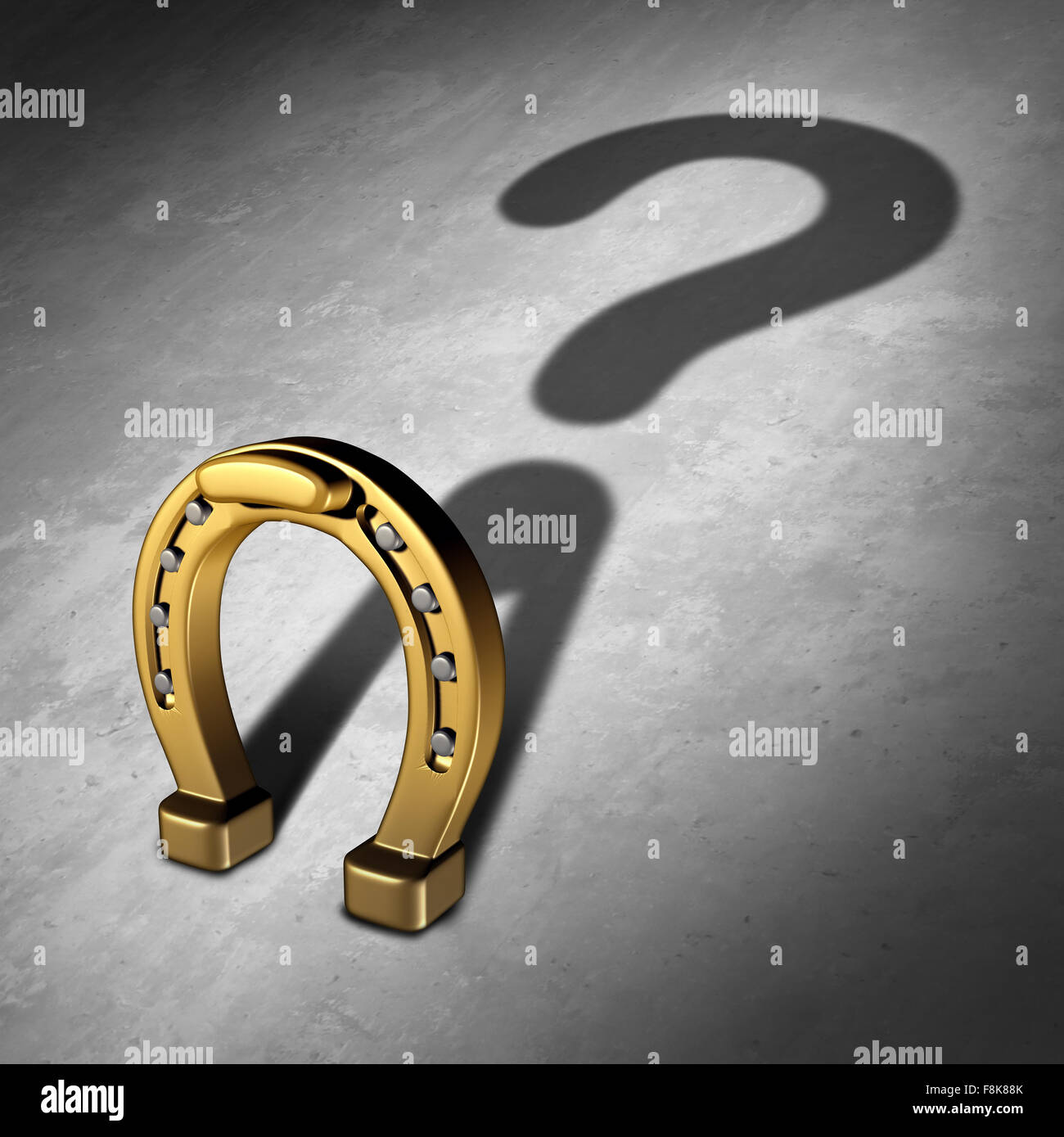 Chance question and luck questions as a horseshoe icon or horse shoe odds symbol as a golden metal lucky charm object - Stock Image