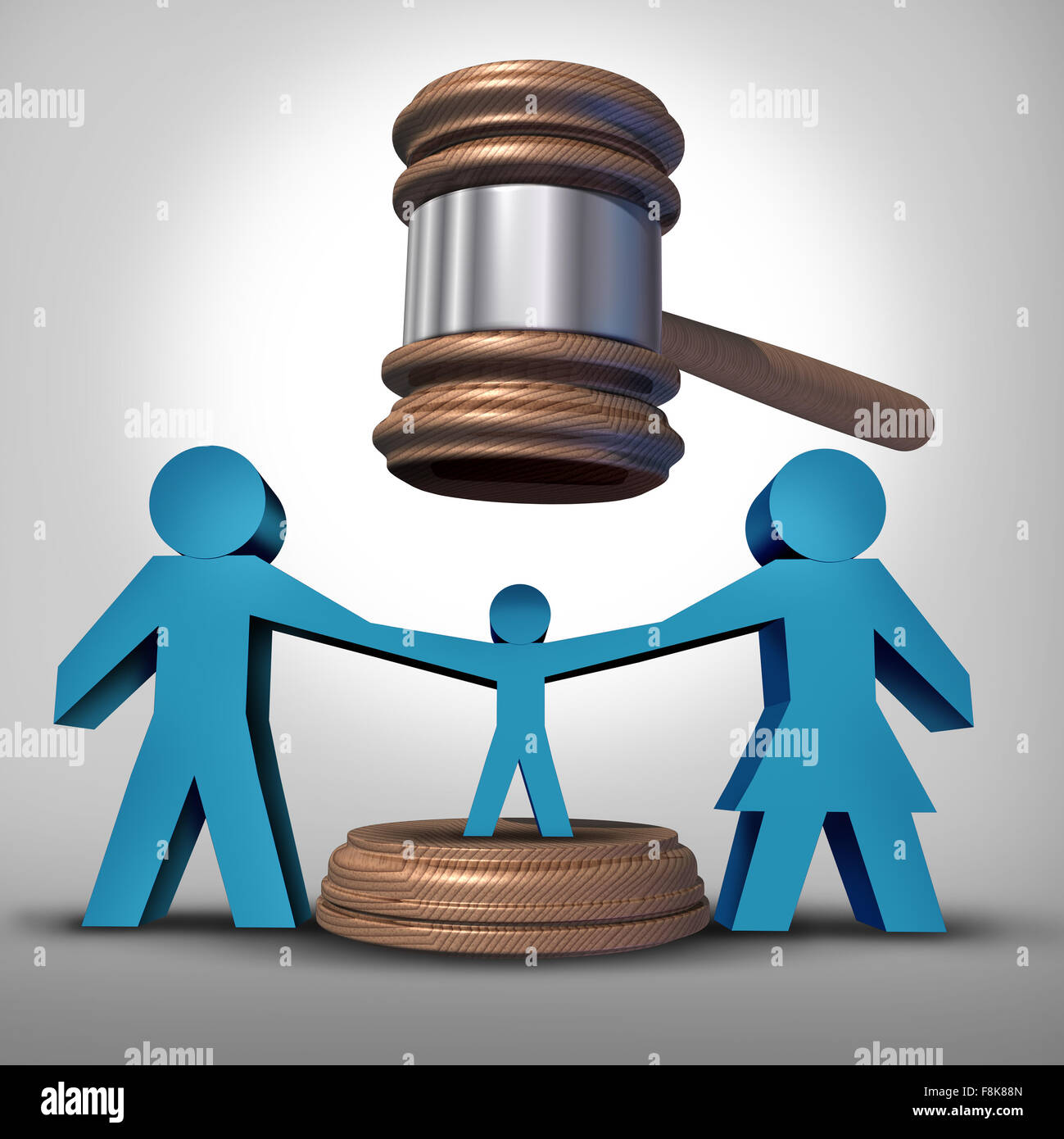 Child custody battle as a family law concept during a legal separation or divorce dispute as a father mother icon - Stock Image