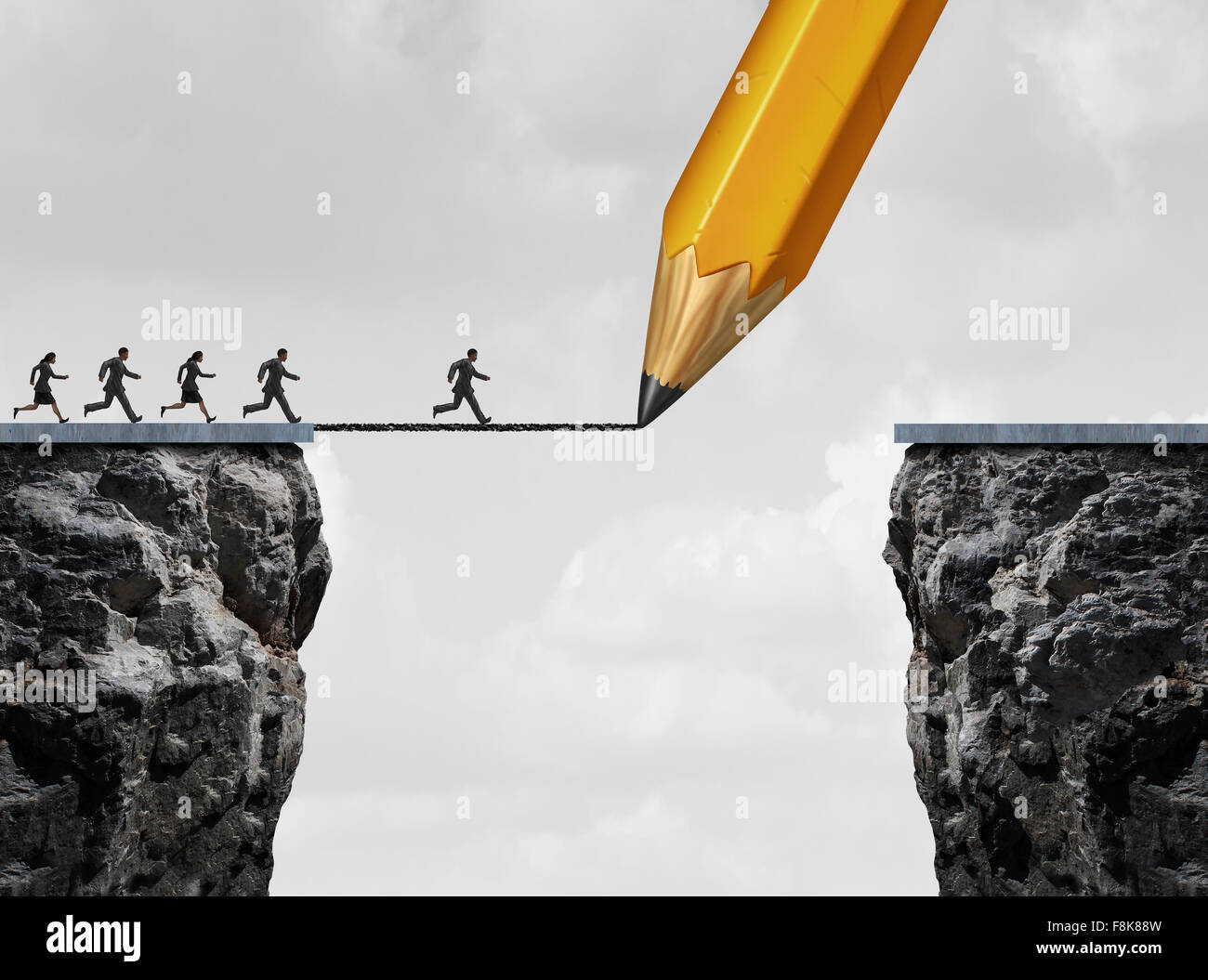 Drawing a bridge and conquering adversity business concept as a group of people running from one cliff to another - Stock Image