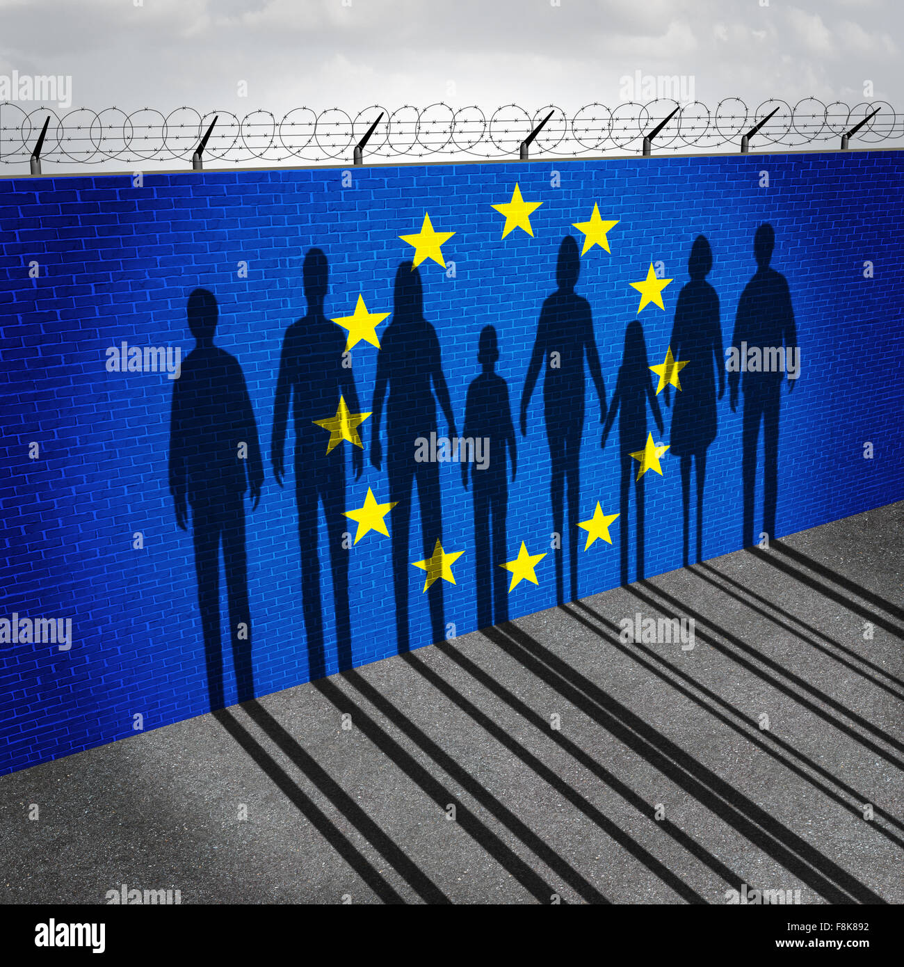 Europe immigration and european refugee crisis concept as people on a border wall with a Eurozone flag as a social - Stock Image