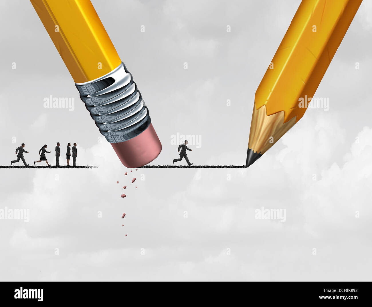 Help concept and corporate support as a group of people excluded from advancing on a drawing of a line that is being - Stock Image