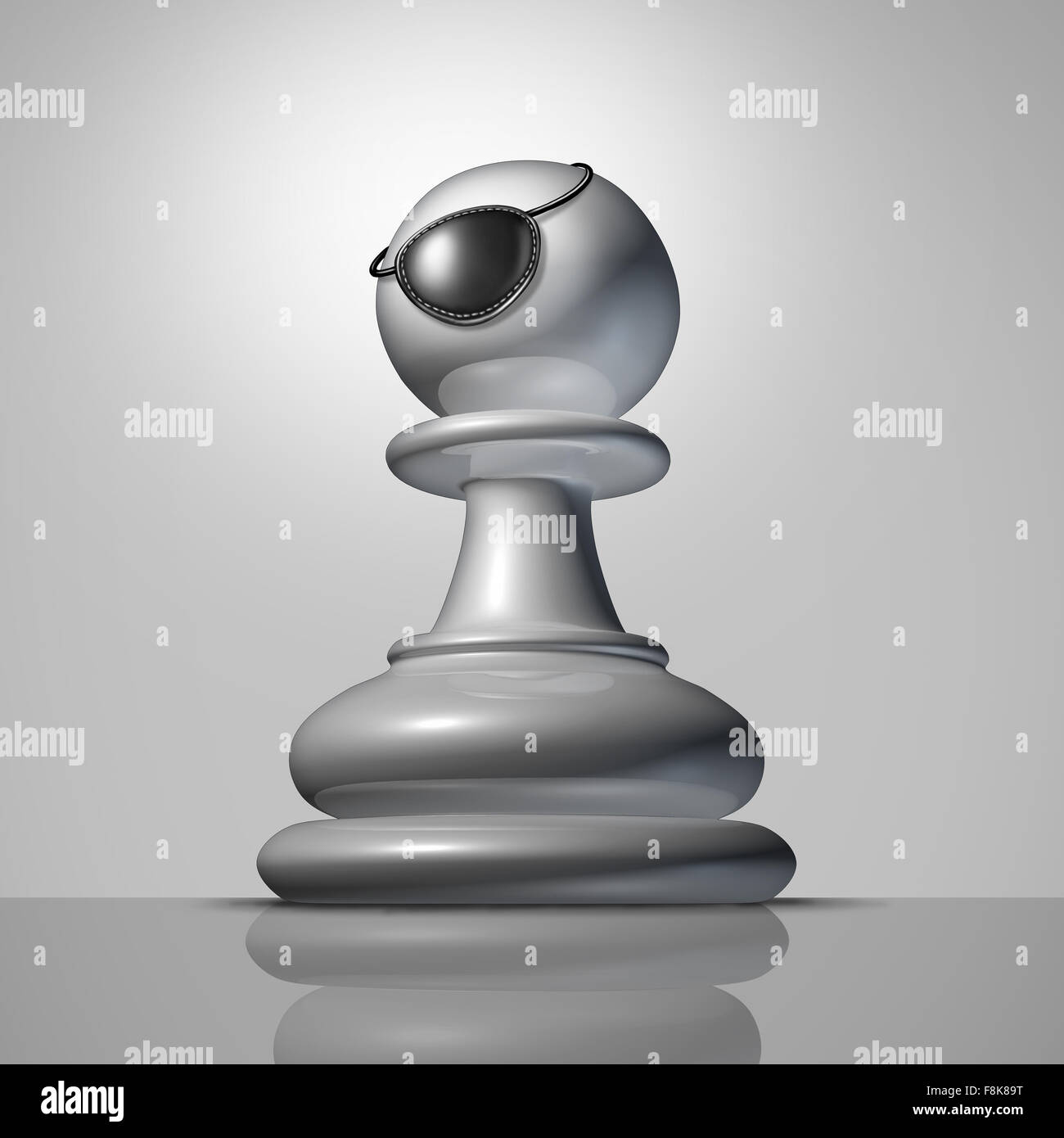 Stronger strategy business concept as a chess pawn piece wearing a pirate eyepatch or eye patch as a symbol and - Stock Image