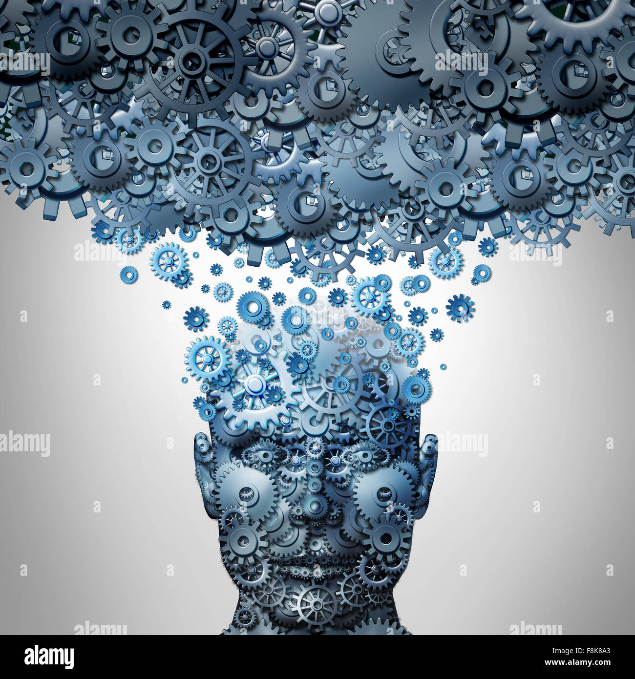 Upload your mind or uploading your brain concept as a human head made of mechanized gear and cog wheels being uploaded - Stock Image