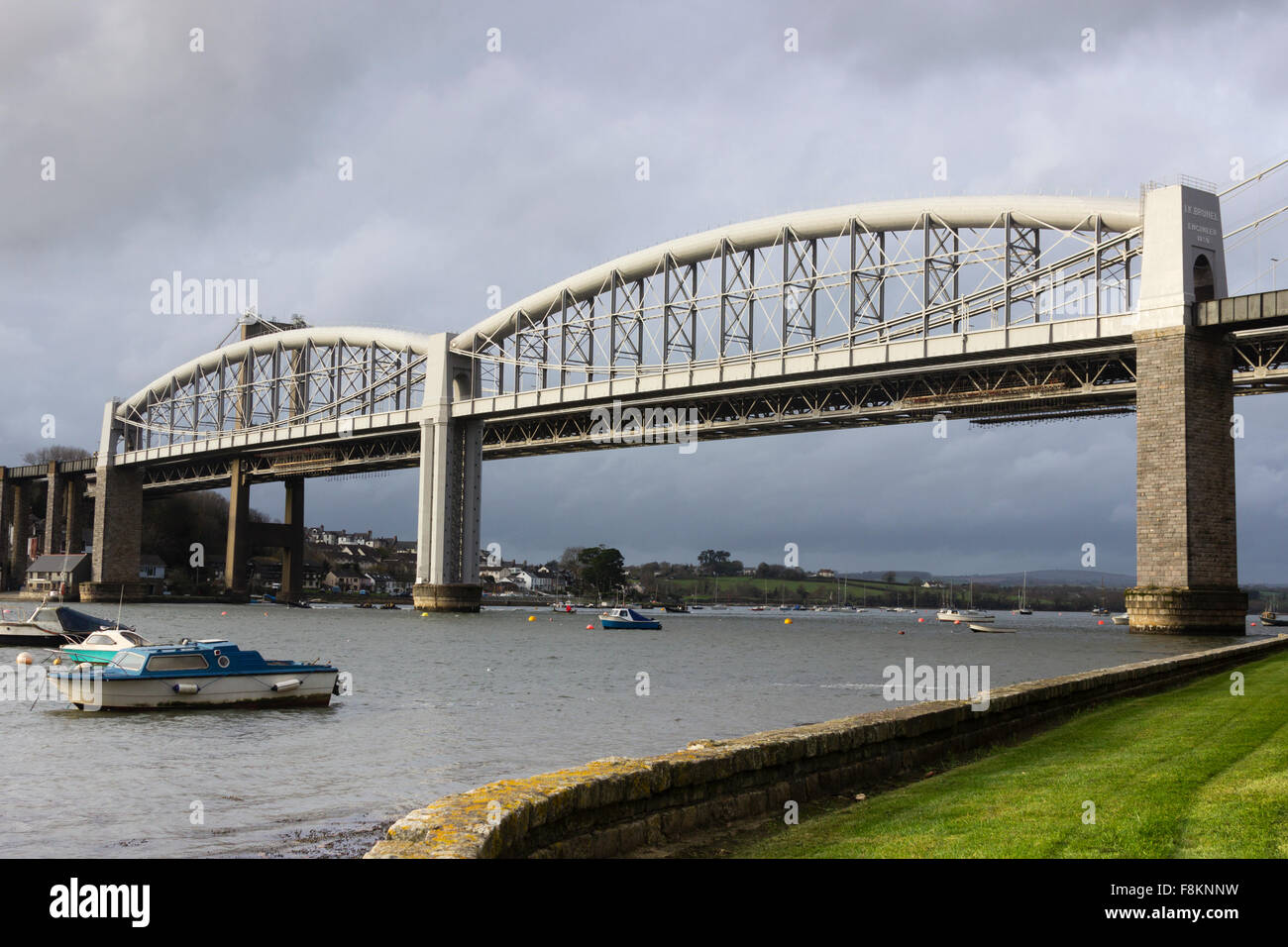 Isambard Kingdom Brunel designed Royal Albert bridge carrying the Cornish main railway line across the River Tamar, Stock Photo