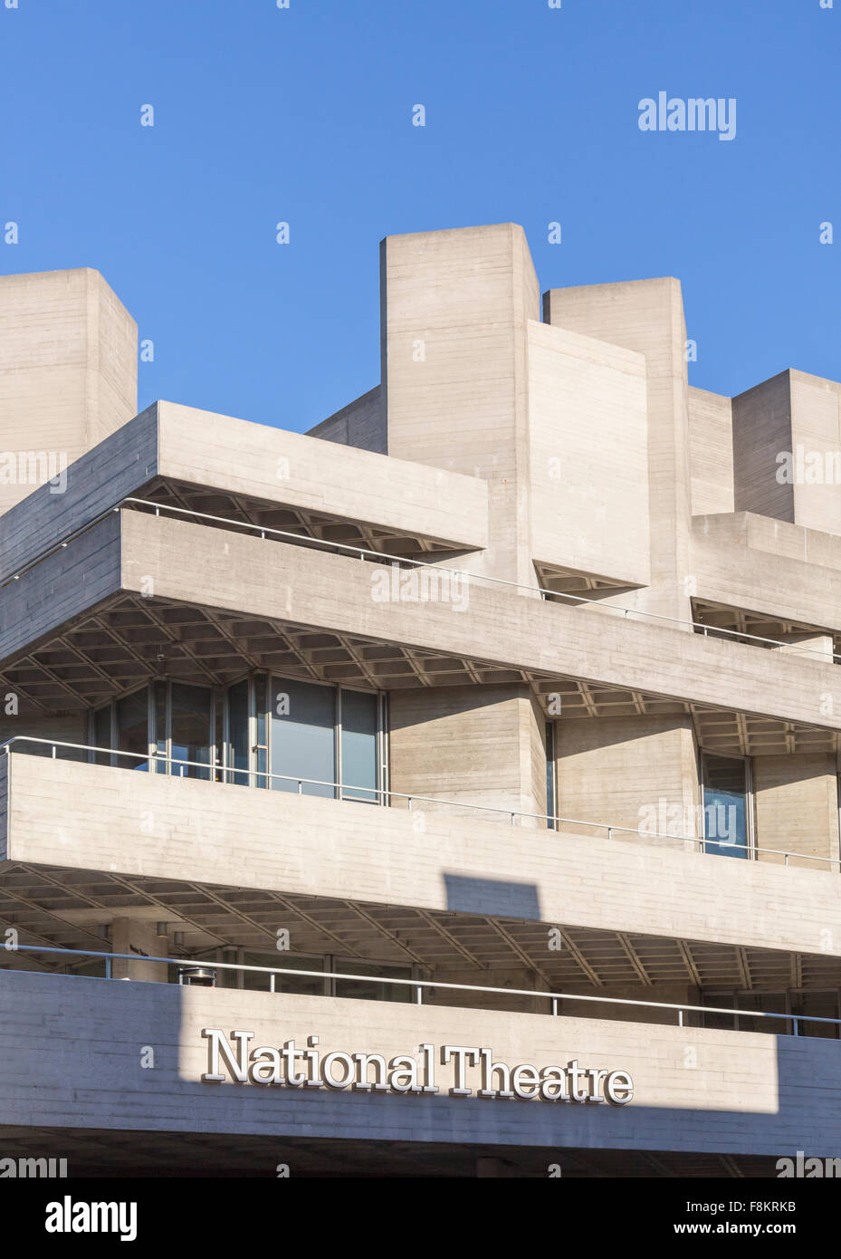 Entrance to National Theatre on South Bank, London, England, UK - Stock Image