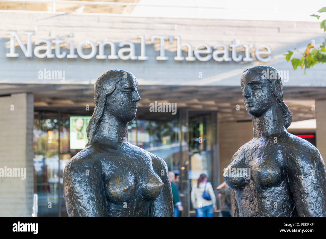 Statue called London Pride at entrance to the National Theatre, South Bank, London, England - Stock Image