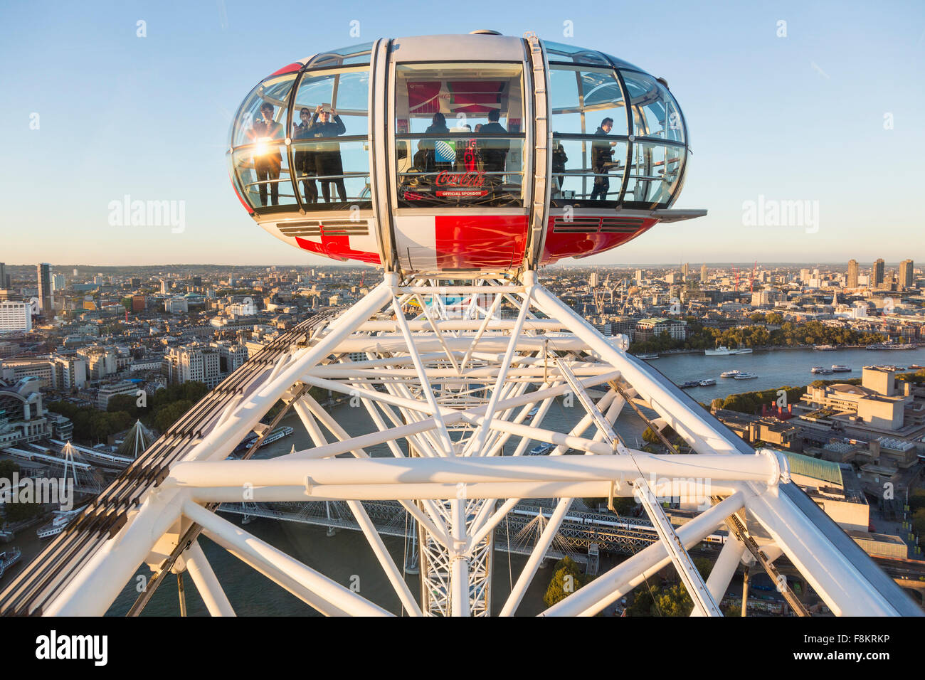 London Aerial of the City from London Eye in Westminster, London, England, UK with people in a capsule on the London Stock Photo