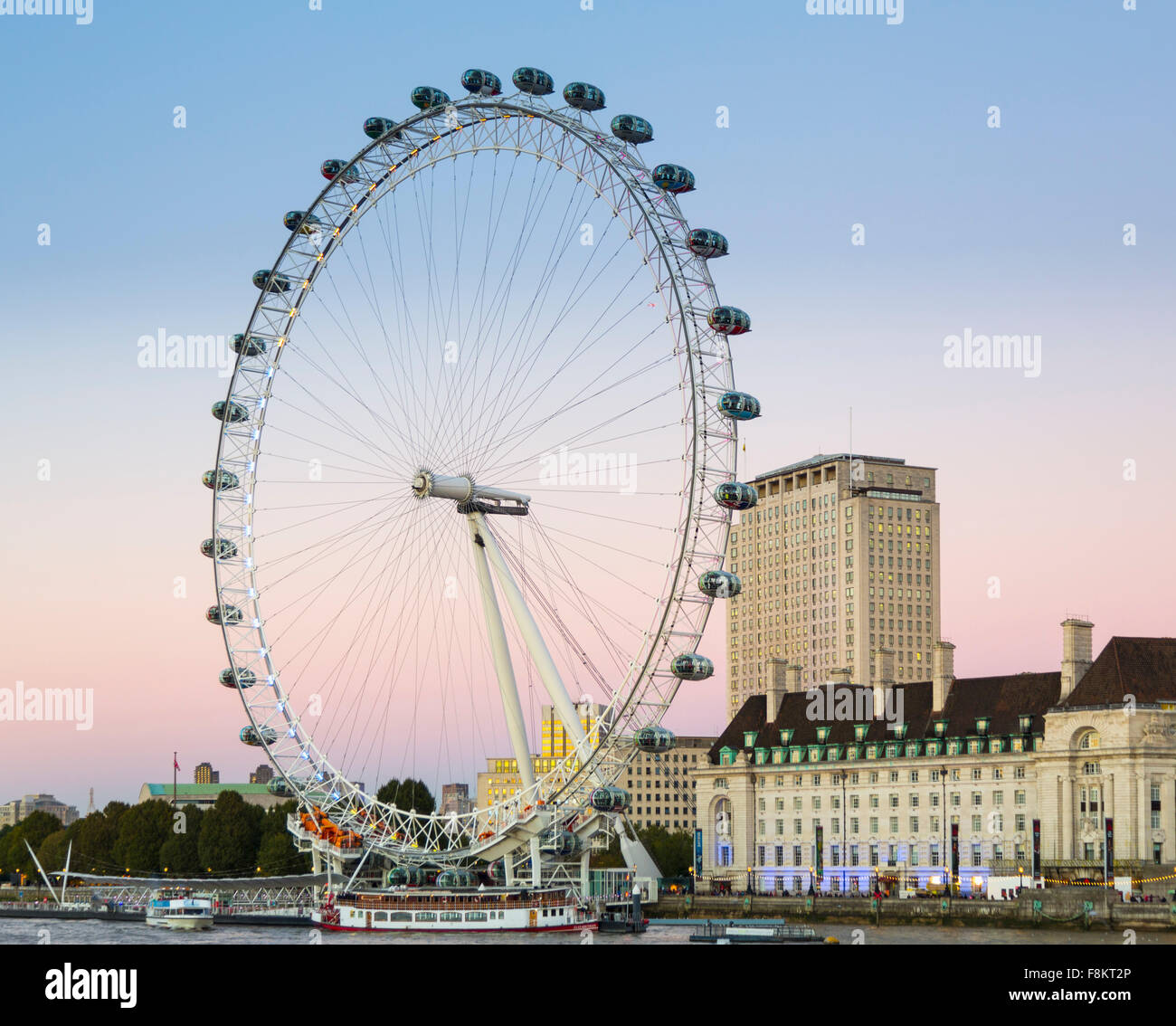 London Eye or Millennium Wheel on the South Bank of the River Thames in London England, Uk - Stock Image