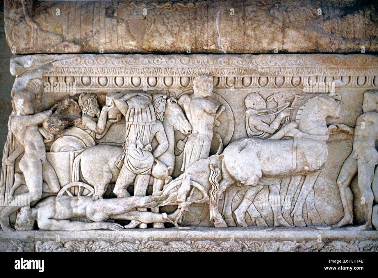 King Priam Ransoms the Trojan Prince Hector in a Scene from The Iliad. A Carved Roman Sacrophagous from north-west - Stock Image