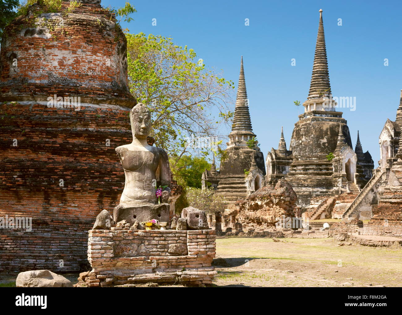 Thailand - Ayutthaya, old Chedi at the ruins Wat Phra Si Sanphet Temple, World Heritage Site - Stock Image