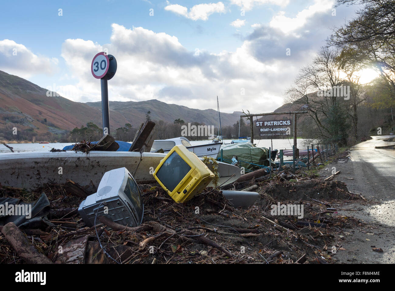 Glenridding, Cumbria, 10th December 2015. UK Weather.  Heavy overnight rain caused more flooding as the river running - Stock Image