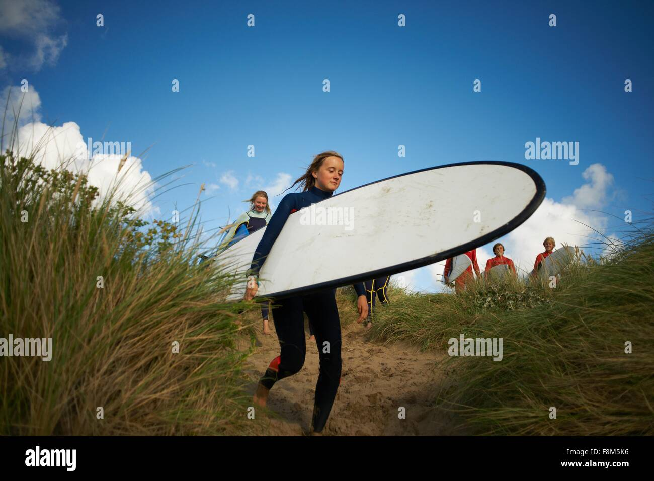 Group of surfers heading towards sea, carrying surfboards - Stock Image