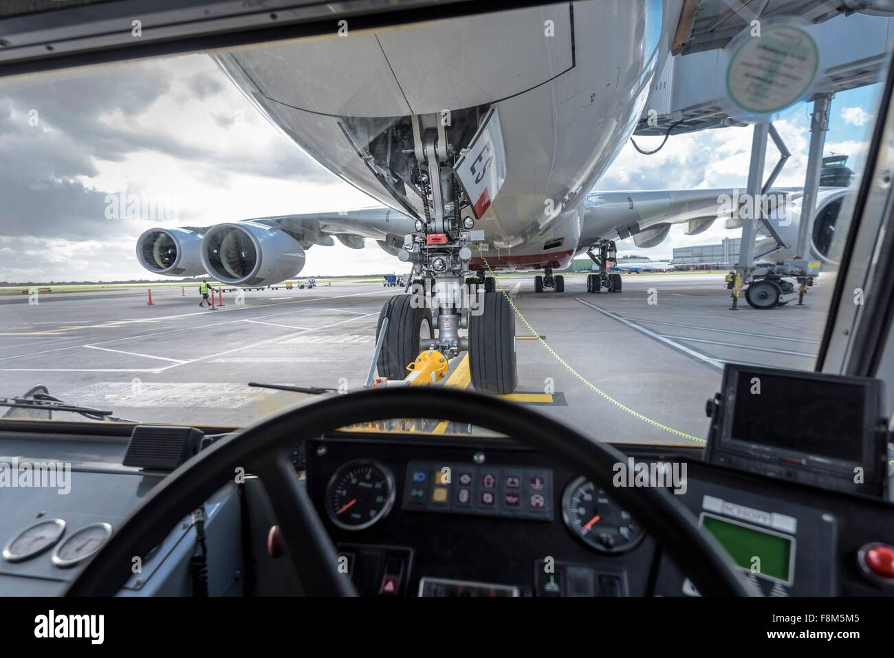 View of A380 aircraft from inside tug - Stock Image