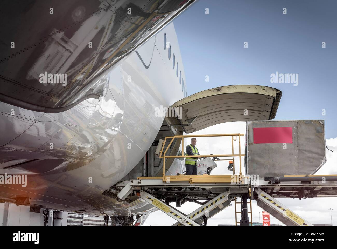 Freight loader on A380 aircraft - Stock Image