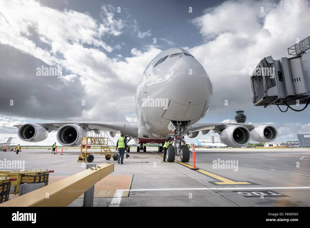 A380 Aircraft arriving at airport - Stock Image